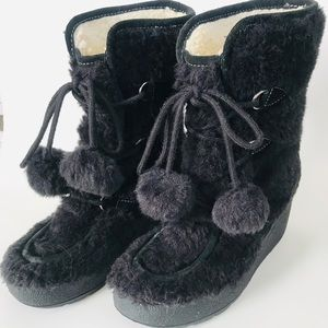 Juicy Couture Furry Pom Pom Boots